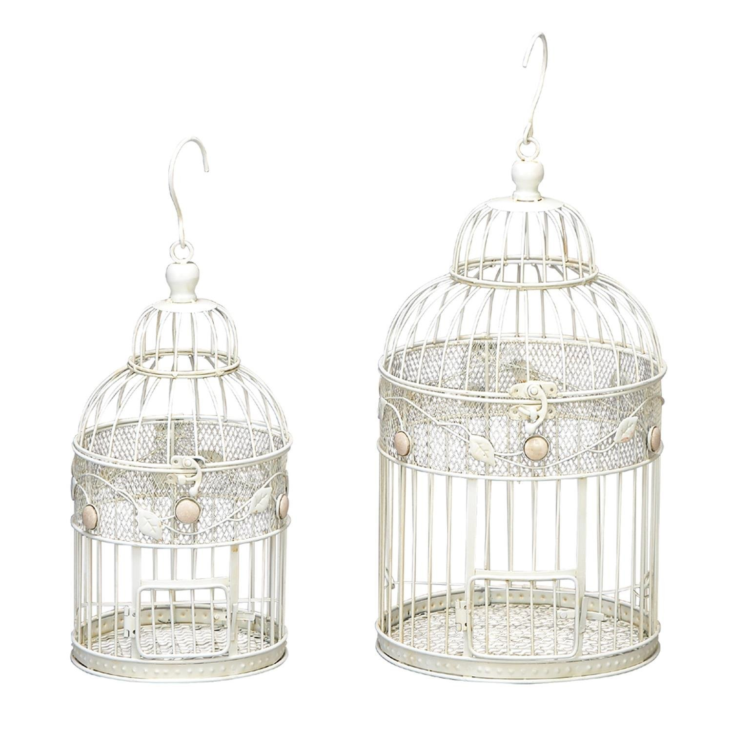 ORE International 64656 Metal Birdcages, White, Set of 2