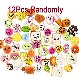 12 PCS Random Kawaii Mini Soft Foods Panda Bread Bun Toasts Donuts Phone Straps Charm,Squishies Phone Key Chain Bread Strap,Hand Pillow Toy Gift