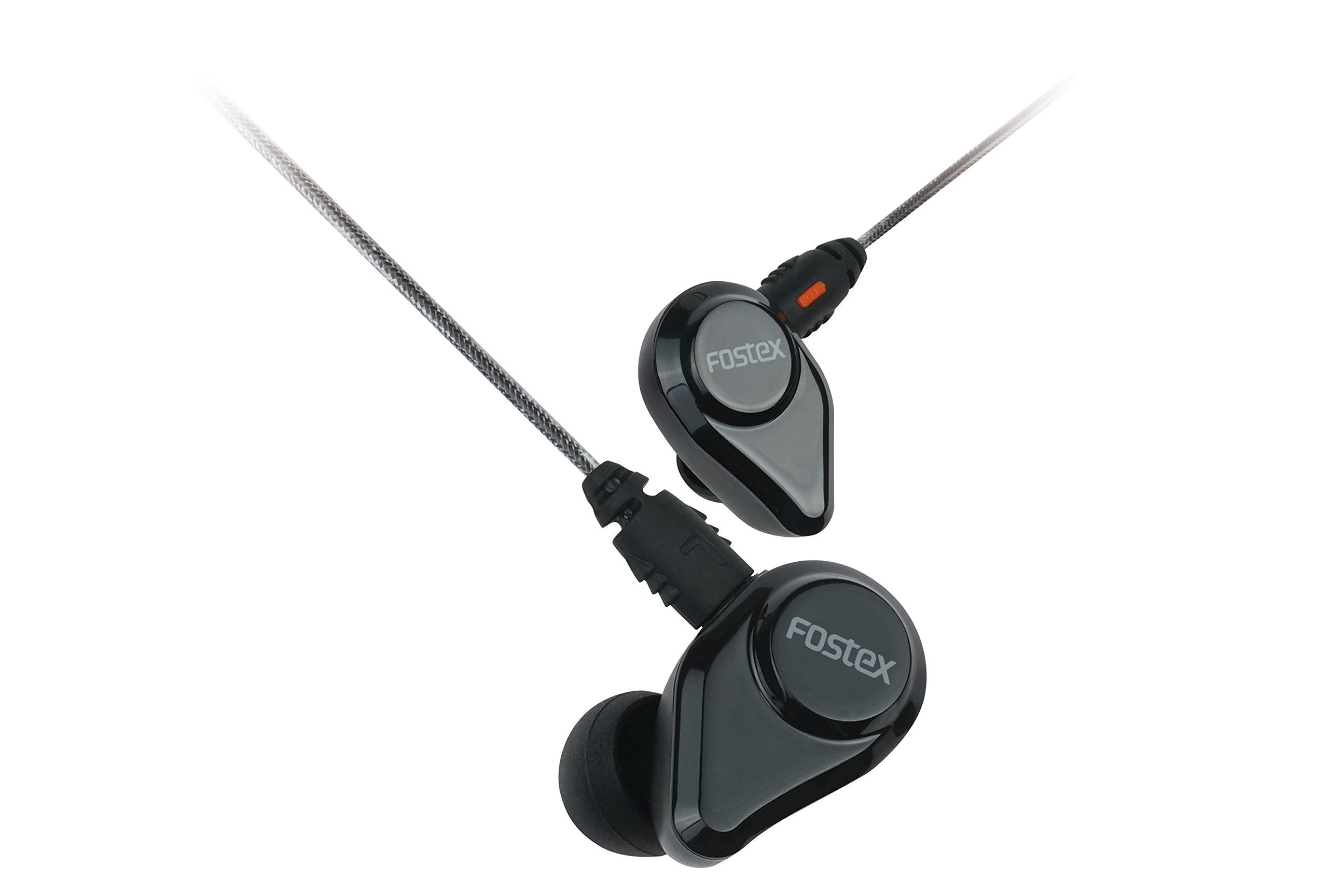 Fostex USA Fostex TE04 In-Ear Stereo Headphones with Detachable Cable and Microphone, Jet Black (TE-04BK), AMS-TE-04BK)