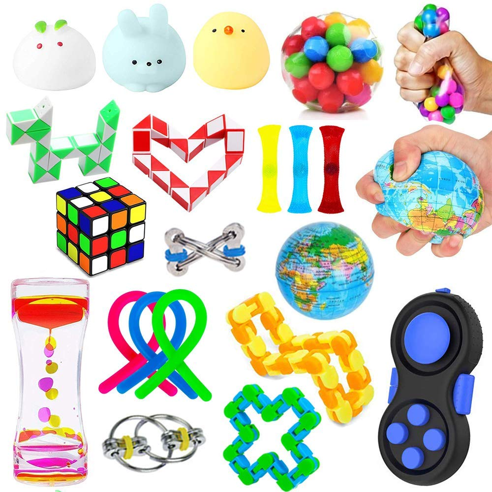 21 Pack Sensory Fidget Toys Set,Stress Relief Hand Toys for Adults Kids ADHD ADD Anxiety Autism, Perfect for Birthday Party Favors, School Classroom Rewards, Carnival Prizes, Pinata Goodie Bag Fillers