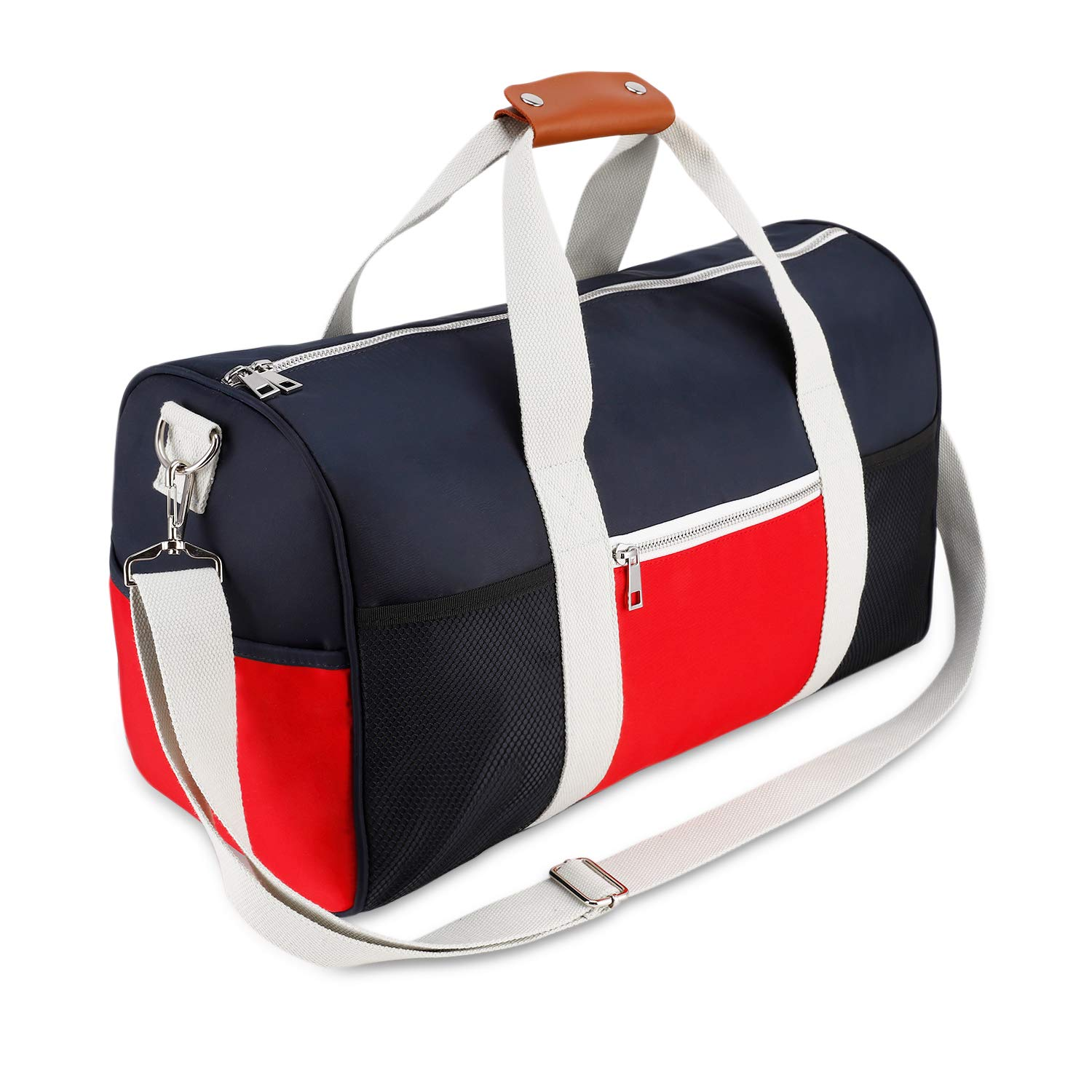 Gym Bag Duffel Bag for Women Men,Travel Bag for Sports,Genuine Leather Handle
