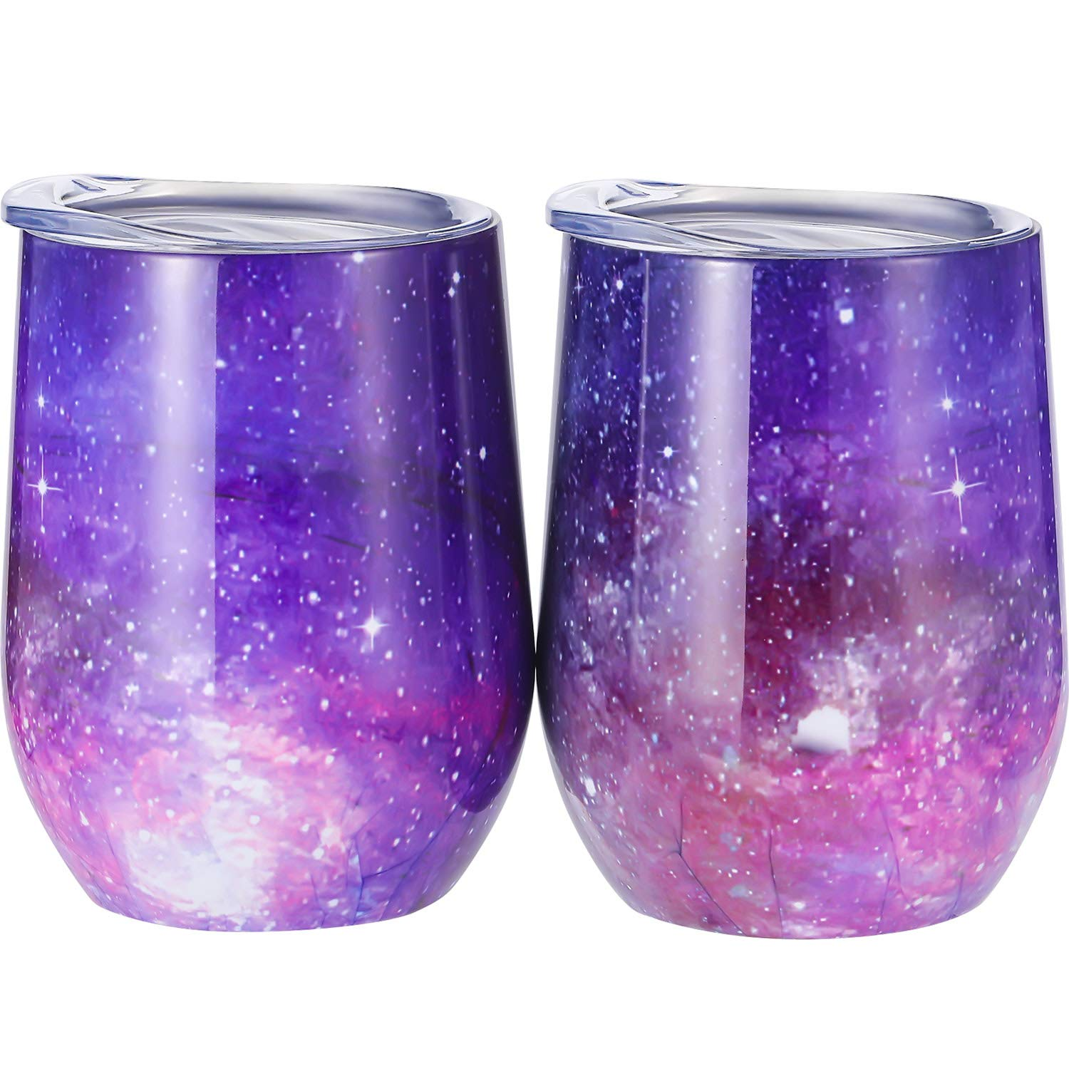 Skylety 12 oz Double-insulated Stemless Glass, Stainless Steel Tumbler Cup with Lids for Wine, Coffee, Drinks, Champagne, Cocktails, 2 Sets (Starry Purple)