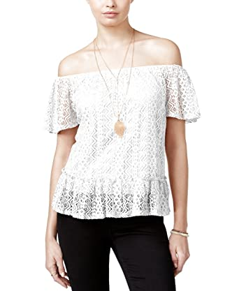 5a177bb685d54b Belle du Jour Juniors  Lace Off-The-Shoulder Top with Necklace (X-Large