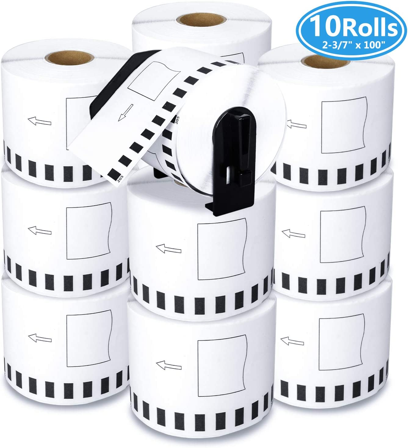 "10 Rolls Compatible Brother DK-2205 Continuous Paper Tape Labels Roll, Cut-to-Length Label, 2.4"" x 100 Feet with Refillable Cartridge for Brother QL-500 QL-580 QL-700 QL-800 Laebl Printer etc. 71UHny9v8JL"