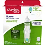 Playtex Baby Nurser Bottle with Drop-Ins Disposable Liners Closer to Breastfeeding with Hot Air Balloon Graphics, 8 Ounce - 3 Pack