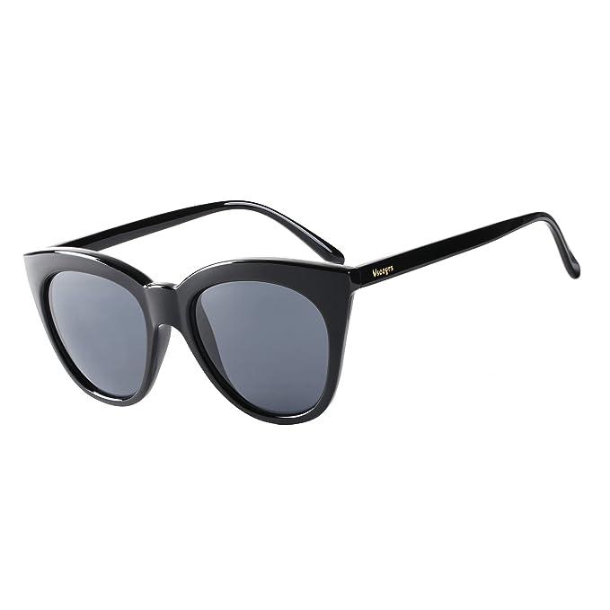 67d804b3a Vseegrs Cateye Retro Sunglasses for Women Girls UV Protection Eyewear(Black,  Grey)