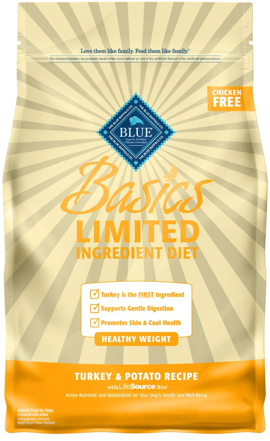Blue Buffalo Basics Limited Ingredient Diet, Natural Adult Healthy Weight Dry Dog Food, Turkey & Potato 4-lb by Blue Buffalo