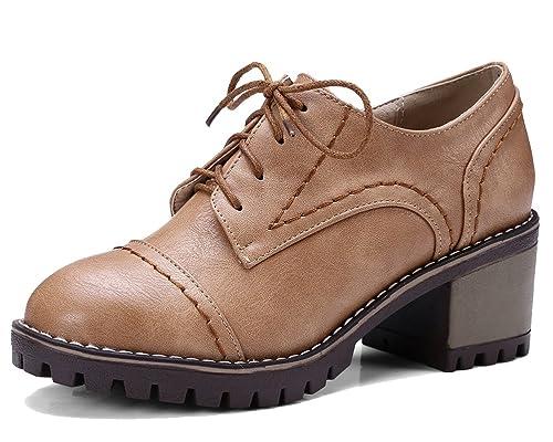 b067f6ab8d1 HiTime Zapatos Planos con Cordones de Piel Mujer