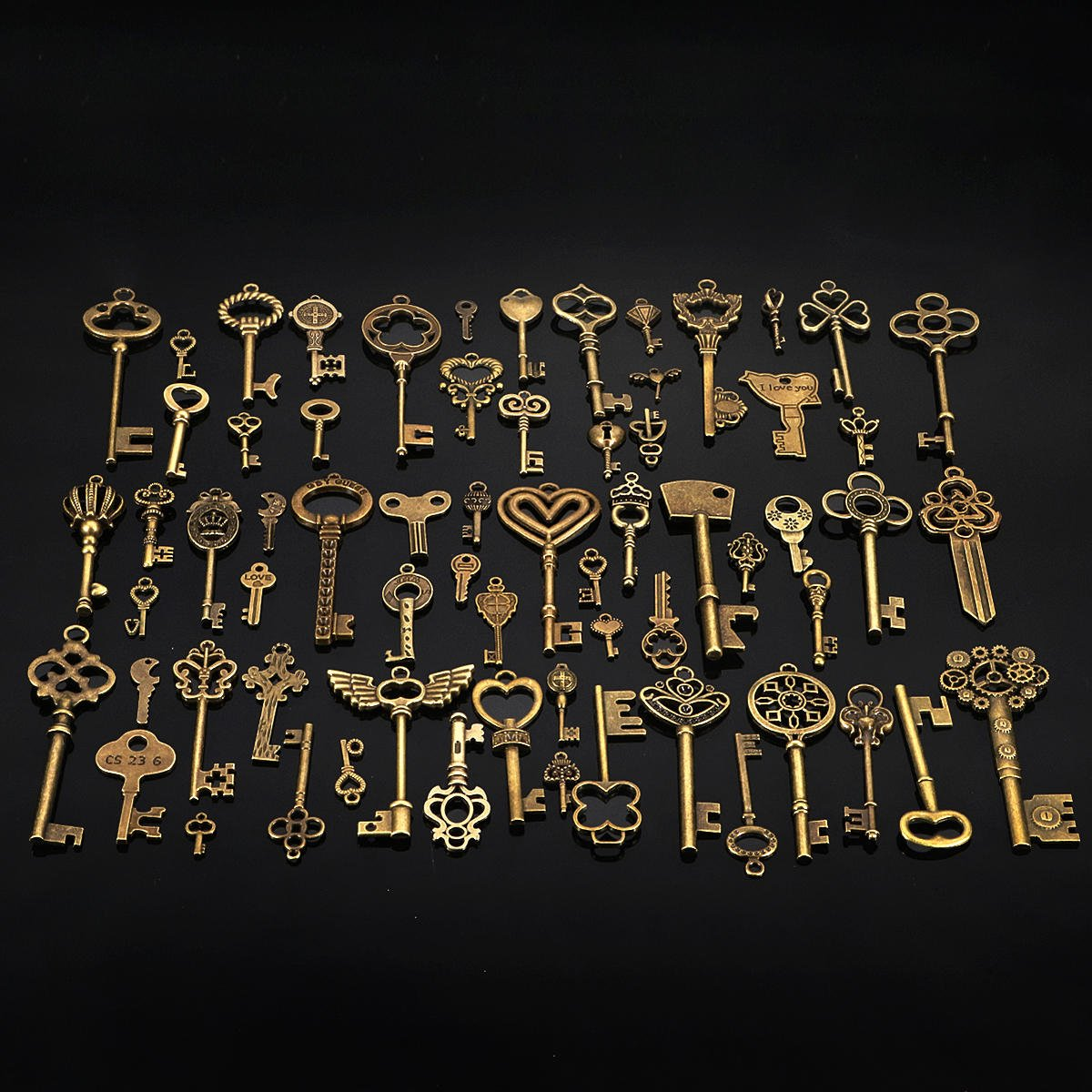 67Pcs Antique Vtg old look Ornate Skeleton Keys Lot Pendant Fancy Heart Bow Favors Jewelry - Hardware & Accessories Decorative Hardware - 67 pcs bronze keys