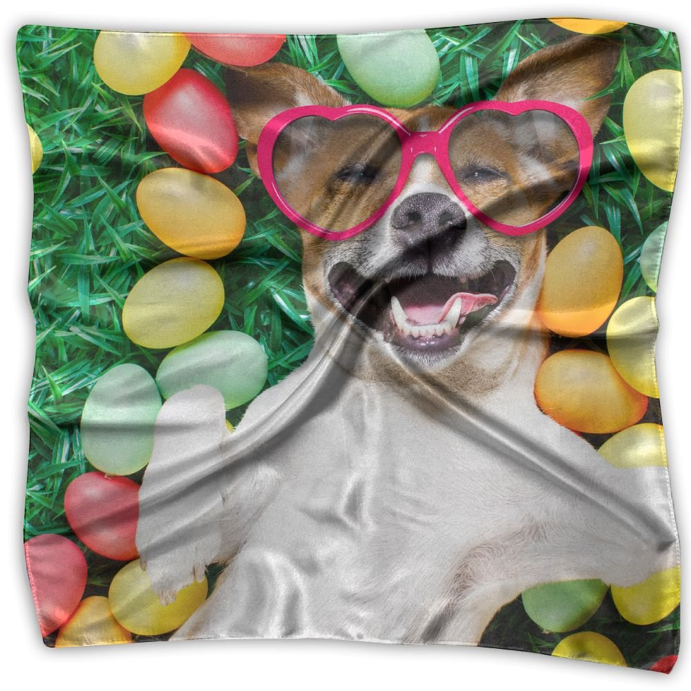 Women Lady Holidays Easter Dogs Eggs With Glasses Print Square Kerchief Scarf Head Wrap Neck Satin Shawl