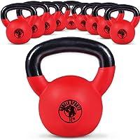 Gorilla Sports Kettlebell 2-32 kg Vinyl – Kugelhantel Red Rubber aus Gusseisen mit Neoprenhülle - TÜVRheinland Zertifiziert