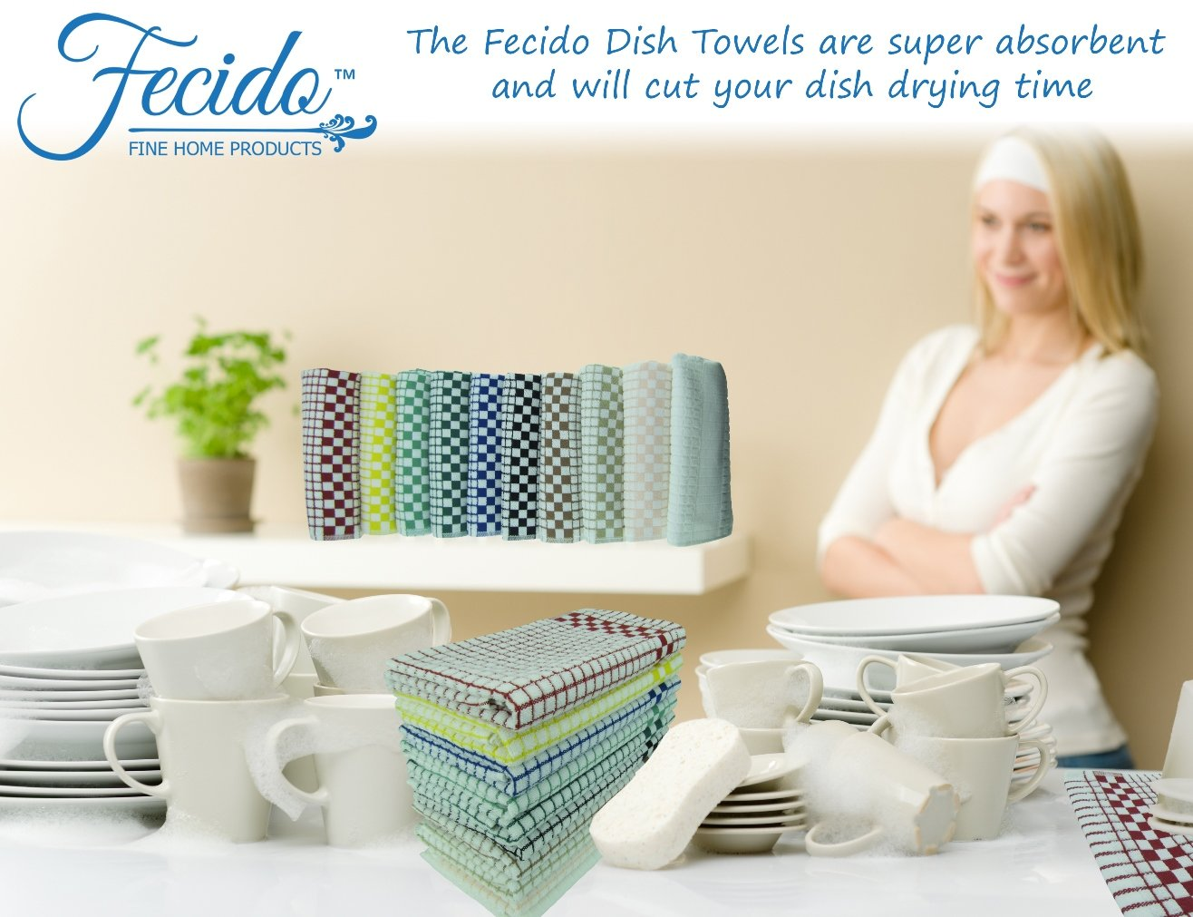 Fecido Classic Dark Kitchen Dish Towels with Hanging Loop European Made 100/% Cotton Tea Towels 10 Pack Multi Color Heavy Duty Absorbent Dish Clothes