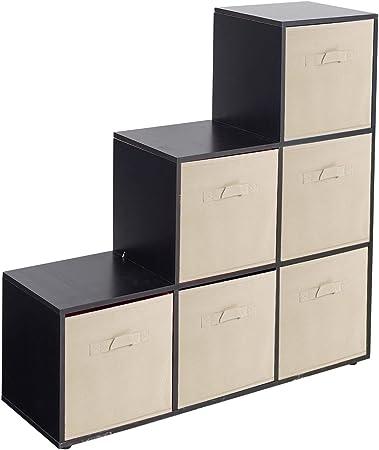 URBNLIVING Estantería de 6 cubos en forma de escalera con 6 cajones, Beige Drawers, Black 6 Cubes: Amazon.es: Hogar
