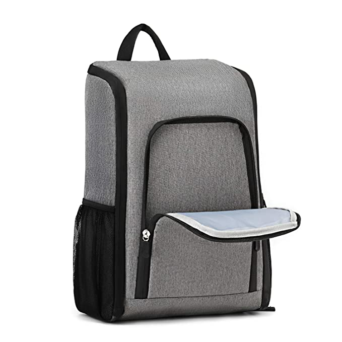 Insulated Cooler Backpack Park Waterproof Thermal Cooler Bag for Picnic Lightweight Bagmine  17 Liter Foldable Lunch Backpack with Cooler Beach Hiking Gray