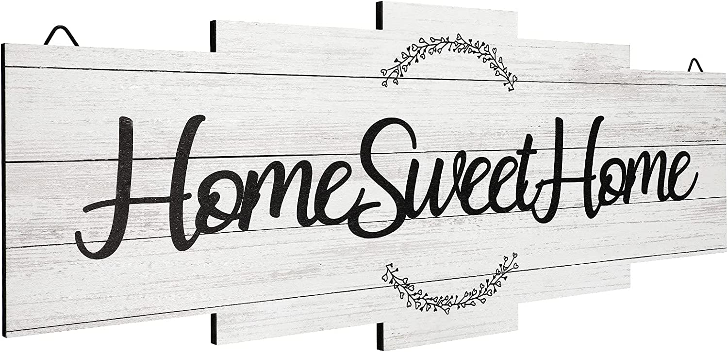 Jetec Home Sweet Home Sign, Rustic Wood Home Wall Decor, Large Farmhouse Home Sign Plaque Wall Hanging Wooden Sign for Bedroom, Living Room, Wall, Wedding Decor (White)