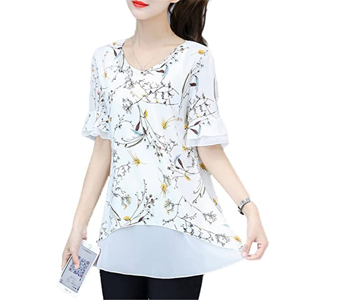 07b42a21030 OUXIANGJU Women Summer Blouses Fashion Printed Tops Short Sleeve Chiffon  Large Size Floral Shirts at Amazon Women s Clothing store