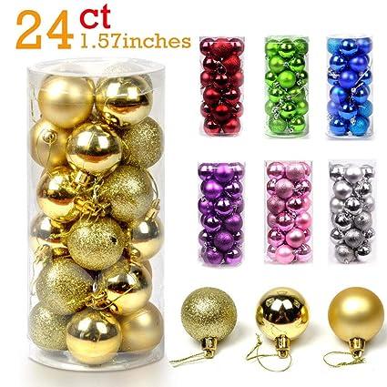 24pcs Christmas Ball Ornaments Bulk Baubles Set Gold Shatterproof Hanging Decor Xmas Tree For Holiday Wedding Party Decoration 1 57 Gold