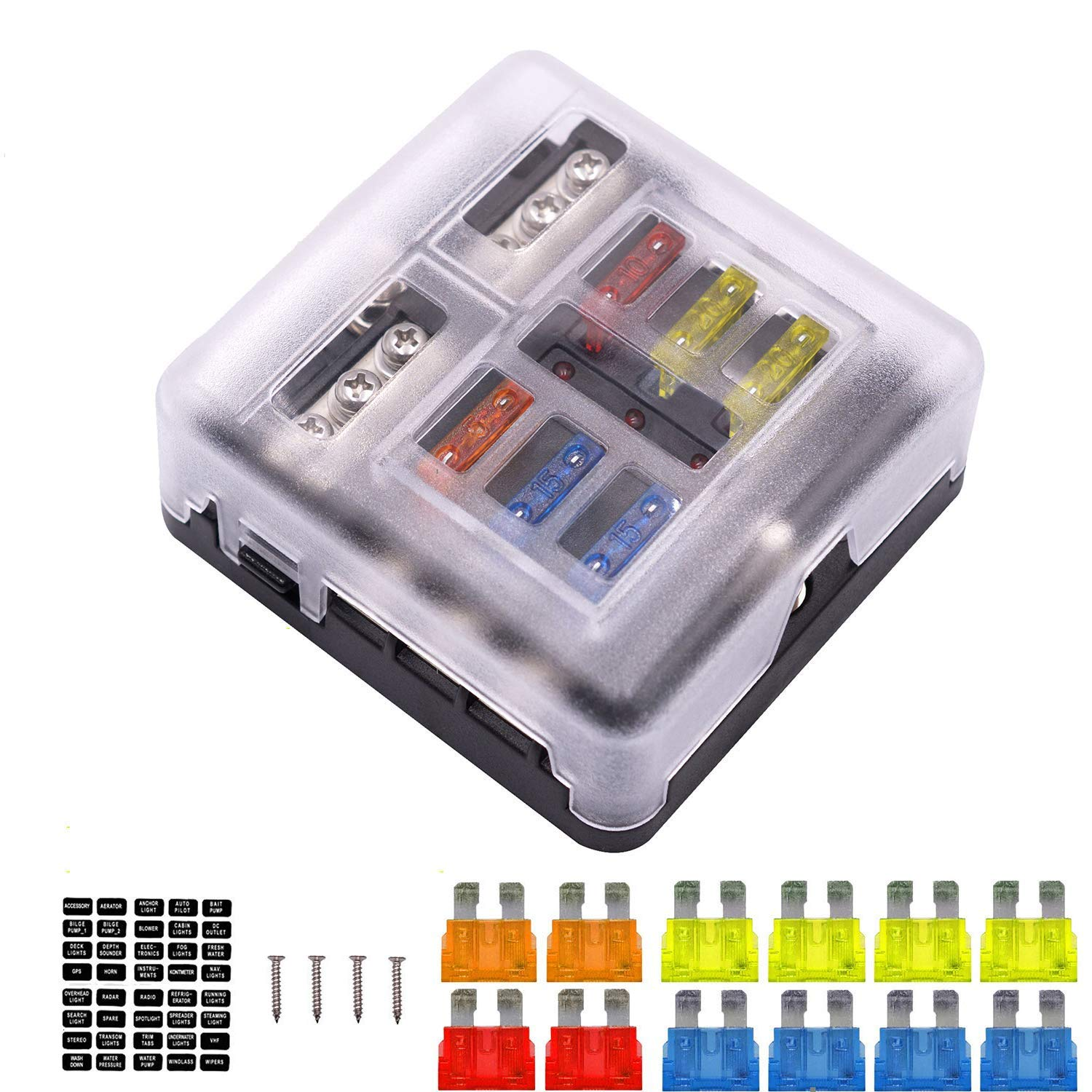 6-Way Fuse Box Blade Fuse Block Holder Screw Nut Terminal W/Negative Bus 5A 10A 15A 20A Free Fuses LED Indicator Waterpoof Cover for Automotive Car Marine Boat