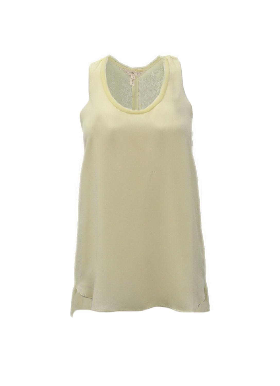 REBECCA TAYLOR Womens Olivia Frayed Detail Silk Tank Top Sz 2 Lemon Yellow 230637E
