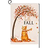 BLKWHT Fall Cat Small Garden Flag 12x18 Inch Vertical Double Sided Autumn Thanksgiving Maple Leaves Orange Burlap Yard Outdoo