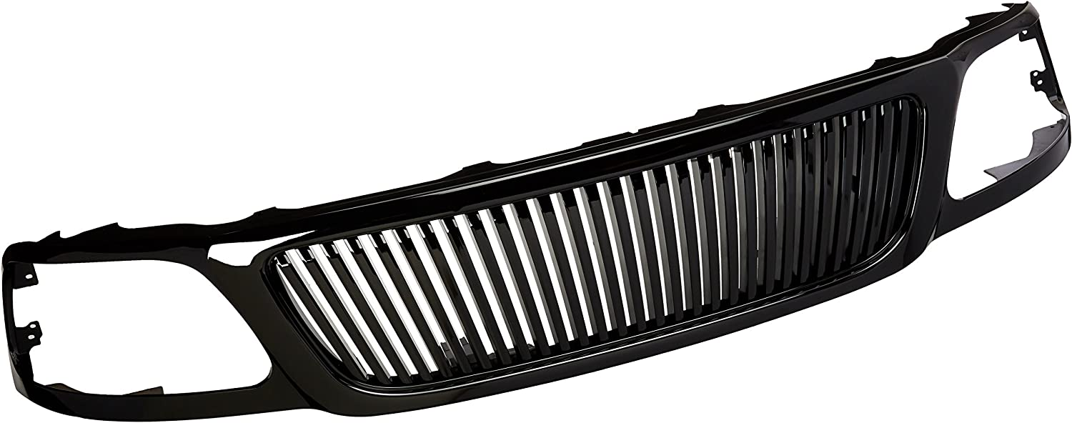 Spec-D Tuning HG-F15099JMVT Ford F150 Expedition Glossy Black Hood Vertical Grill Grille ABS