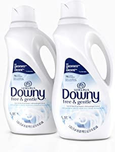 Downy Ultra Plus Free & Gentle Liquid Fabric Conditioner (Fabric Softener), Concentrated, 51 oz, 2 Pack, 152 Loads Total
