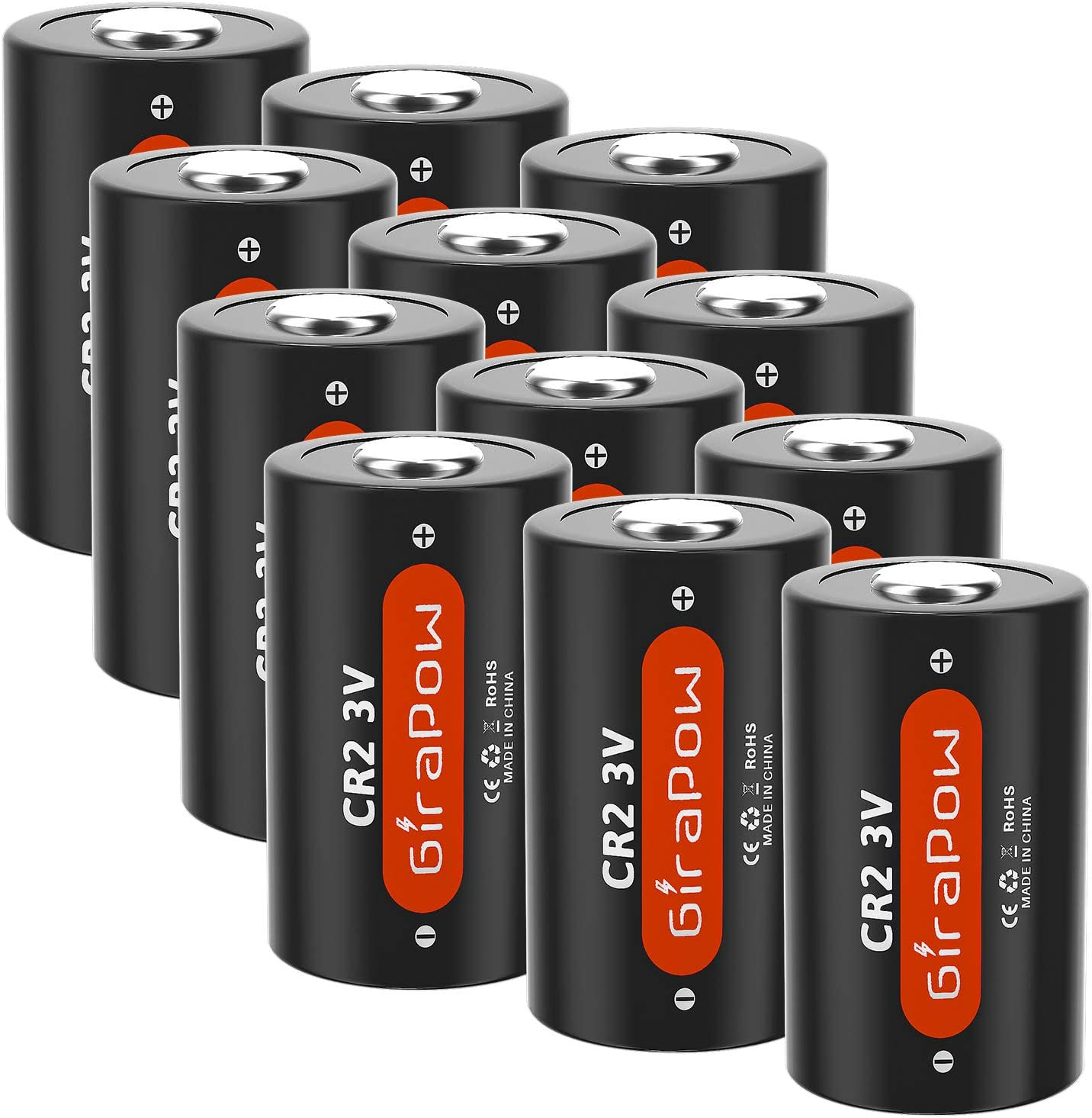 Girapow CR2 3V Lithium Battery, 3 Volt 800mAh Battery High Performance for Golf Rangefinder, Mini 25 50, Flashlight, Calculator, Alarm Systems, 12-Count