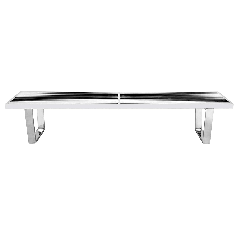 LeisureMod Inwood Stainless Steel 6-Foot Platform Slat Bench
