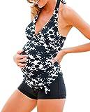 MAXIMGR Women Maternity Retro Floral Print Tankini Swimsuit with Boyshorts Swim Tank Top