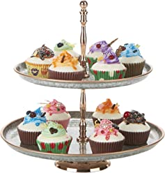 a48bde1cf6338 Mind Reader 2TPAST-SIL Brass & Iron 2, Party Pastry, Cupcake Holder,