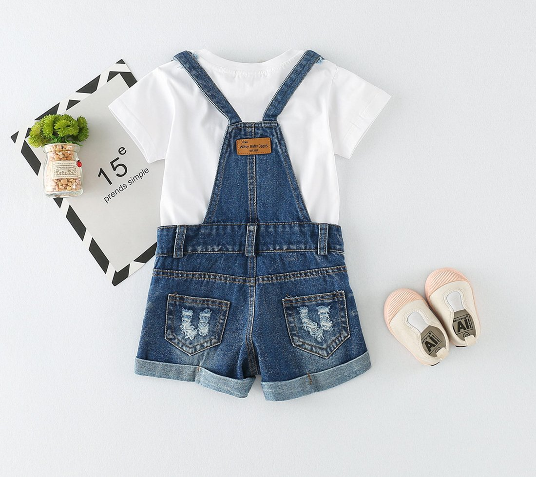 Chumhey Big&Little Girls 2Pc Big Bib Jeans Summer Shortalls Set T-Shirts,Blue,6-7 Years by Chumhey (Image #2)