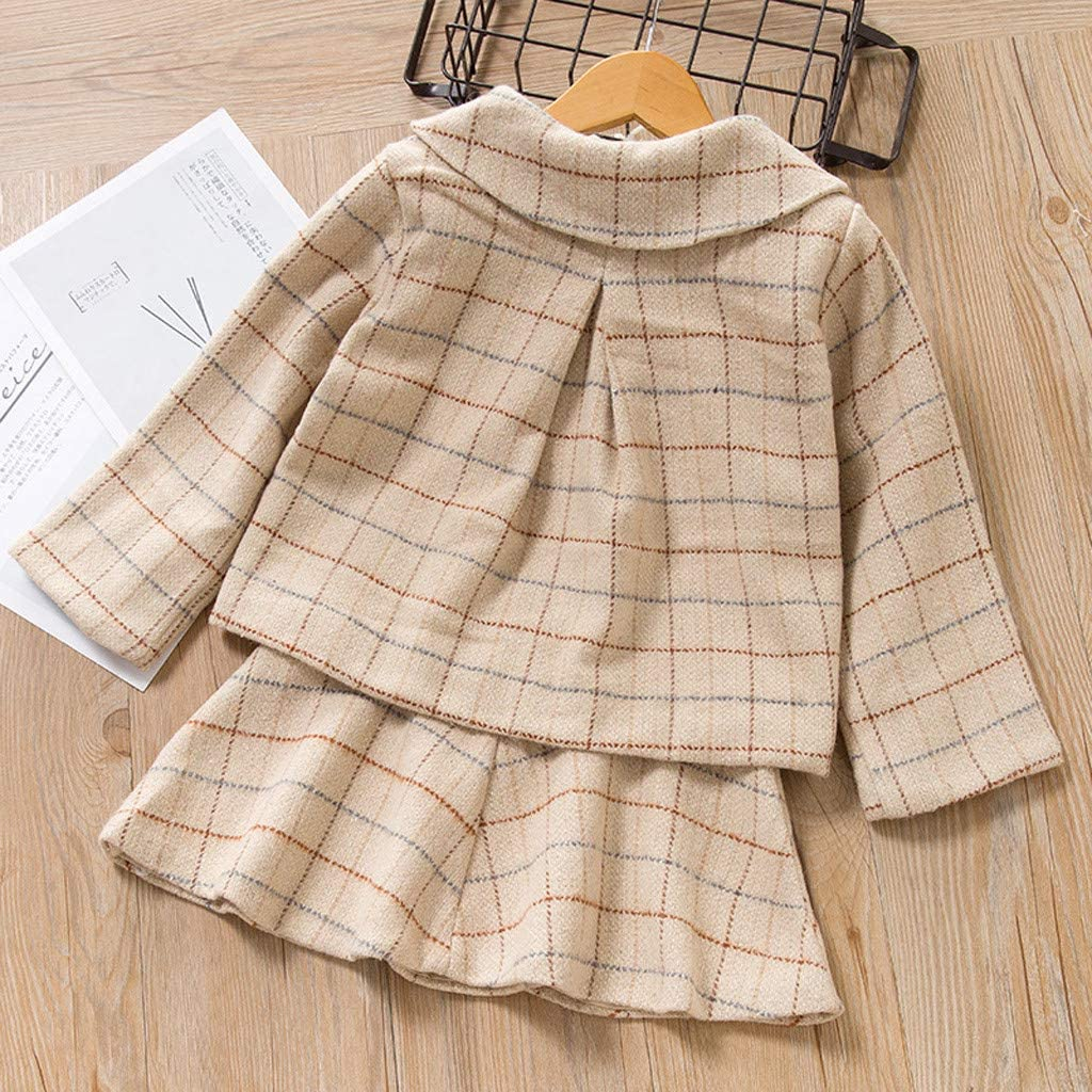 Kids Princess Set Outfits Fineser Baby Girls Long Sleeve Plaid Fleece Coat Jacket Gauze Ruffles Flare Skirt Dress Clothing