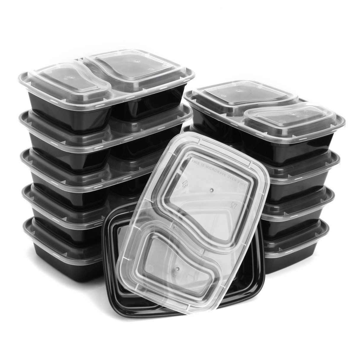 Xiaolanwelc@ 10Pcs/lot Food Storage Container 950ml 2 Compartment Meal Prep Box Bin Durable BPA Free Plastic Microwave Dishwasher Safe