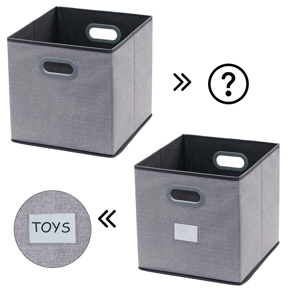 Grey Onlyeasy Cloth Storage Bins Cubes Boxes Fabric Baskets Containers 30 x 30 x 30 cm Set of 6 8MXDB06PL Foldable Cubby Closet Shelf Nursery Drawer Organizer for Home Closet Bedroom
