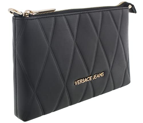 Versace Jeans Suite Mini Black Quilted Cross-Body Bag Black Leather ... 6fc5f736bb3b8