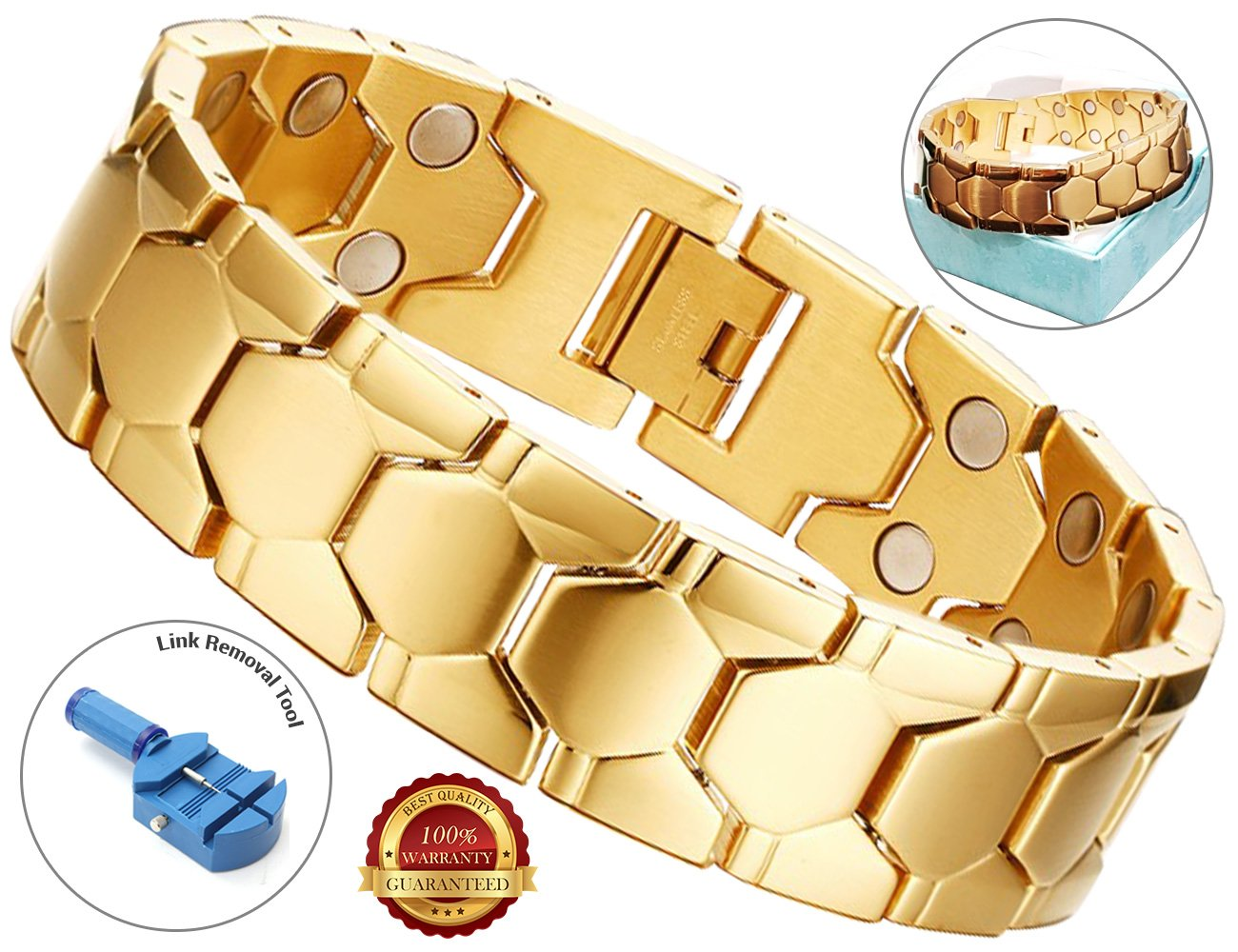 BisLinks® Magnetic Bracelet Gold For Men & Women Titatnium Arthritis Carpal Tunnel Therapy Chronic Pain Relief Health Negative Ion Energy Element (3000 Gauss Each Magnet) + FREE LINK REMOVAL TOOL