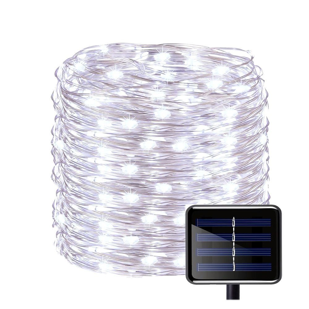 Outdoor Solar Powered Copper Wire String Lights 8 Modes 150 LED(50ft) Waterproof Decor String Light Ambiance Lighting for Christmas Patio Path Party Lawn Garden Wedding Halloween(Cool White)