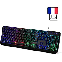 KLIM Chroma Clavier Gamers AZERTY FRANÇAIS Filaire USB - Haute Performance - Clavier Éclairé Chromatique Gaming Noir RGB - PC, PS4 & Xbox One [ Nouvelle Version 2019 ]