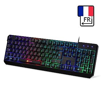 ⭐️KLIM Chroma Teclado Gaming AZERTY USB – Alto Desempeño – Retroiluminación a Color Estilo Gaming