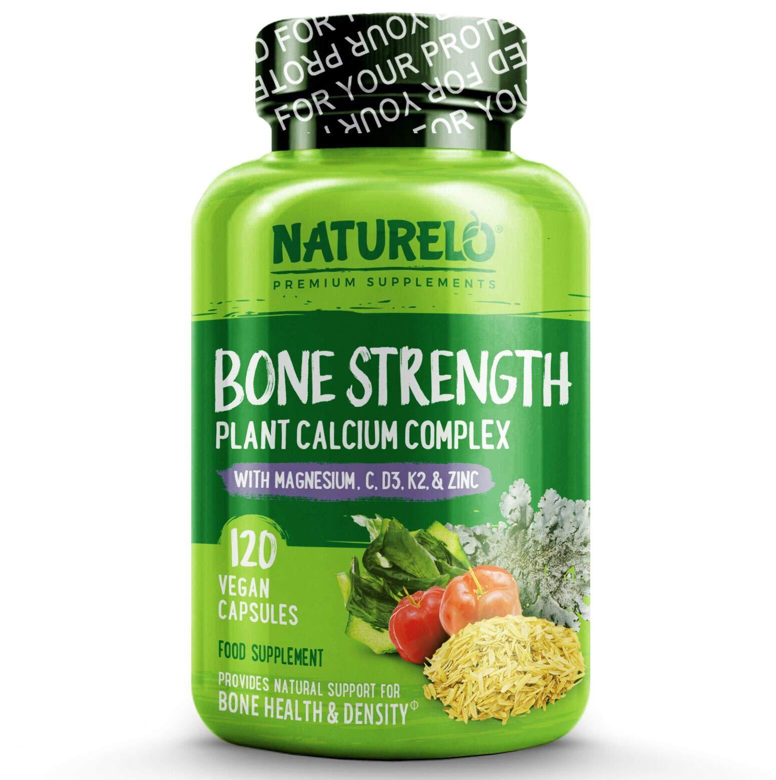 NATURELO Bone Strength - Plant Calcium, Magnesium, Potassium, Vitamin D3, VIT C, K2 - No GMOs, SOYA or Gluten - Complete Whole Food Supplement for Bone Health - 120 Vegan Capsules | 1 Month Supply