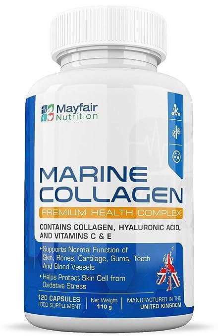 Complejo de Colágeno Marino | 120 Cápsulas Premium | Colágeno Marino Tipo 1, Ácido Hialurónico y Vitaminas C y E para Articulaciones, Cabello, Piel y ...