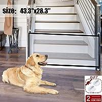 DYBOHF Magic Gate Dog, Barrera de Seguridad para Perro, fácil de Instalar y Seguro con Cerradura. Mantenga a los Perros alejados de la Cocina/en el Piso de Arriba (110 * 72 CM)