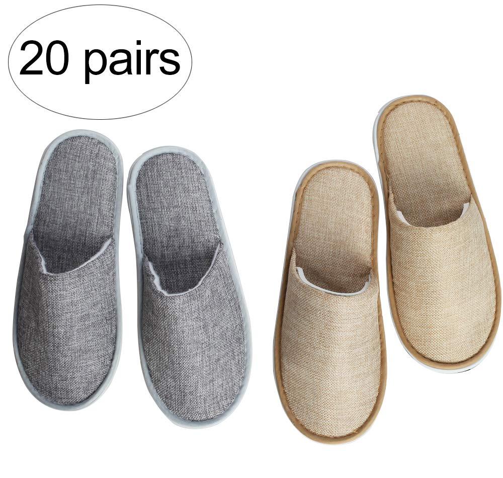Suky&Woody Featured Individually Packed Cotton and linen for Hotel Motel Homestay Airbnb Party Spa Slipper 20 Pairs by Suky&Woody