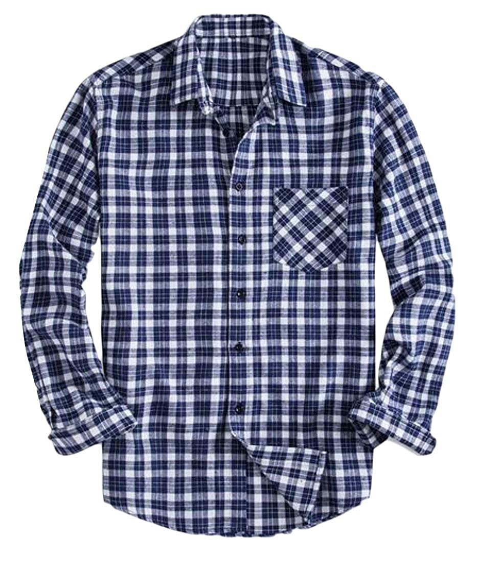 YYG Men Button Down Cotton Plaid Print Loose Big /& Tall Long Sleeve Checkered Shirt
