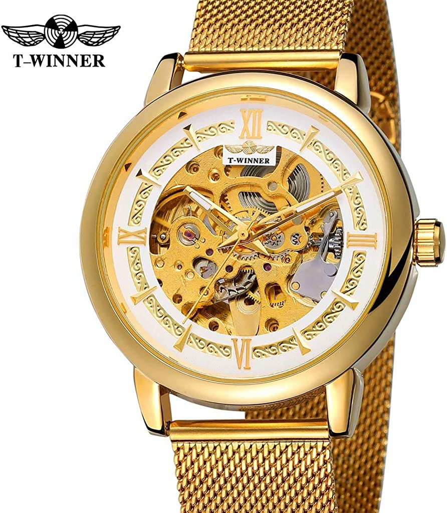 Hombres Reloj mecánico, T-Winner Fashion Hollow Luxury Business Business Moda Hombre Relojes,Hueco Reloj mecánico de Malla,Tamaño de la Caja de Reloj: 16 * 8.5 * 3.5CM (C): Amazon.es: Relojes