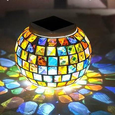 Lights & Lighting Solar Powered Mosaic Glass Ball Garden Lights Waterproof Outdoor Solar Lawn Light Yard Balcony Lamps Table Lamps