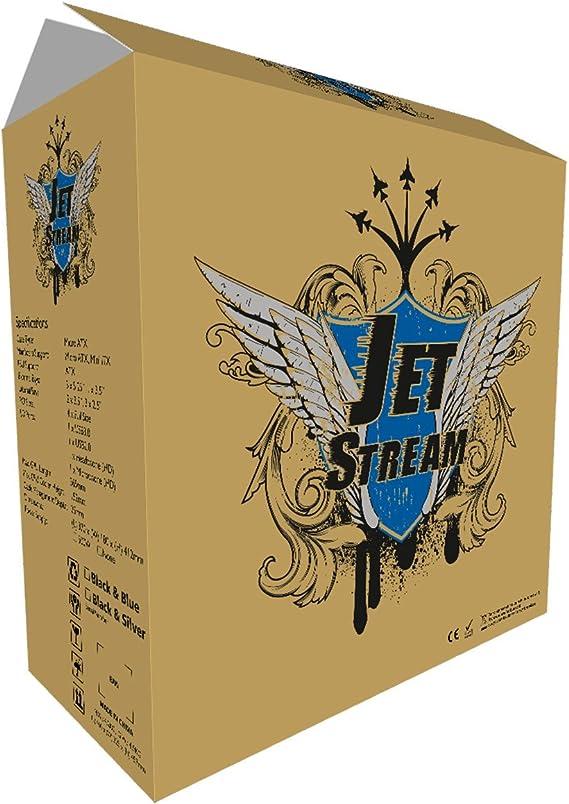 CiT Jet Stream – Caja Midi de Ordenador (con Rayas de Plata y Fuente de alimentación de 500 W, Color Negro: Amazon.es: Informática