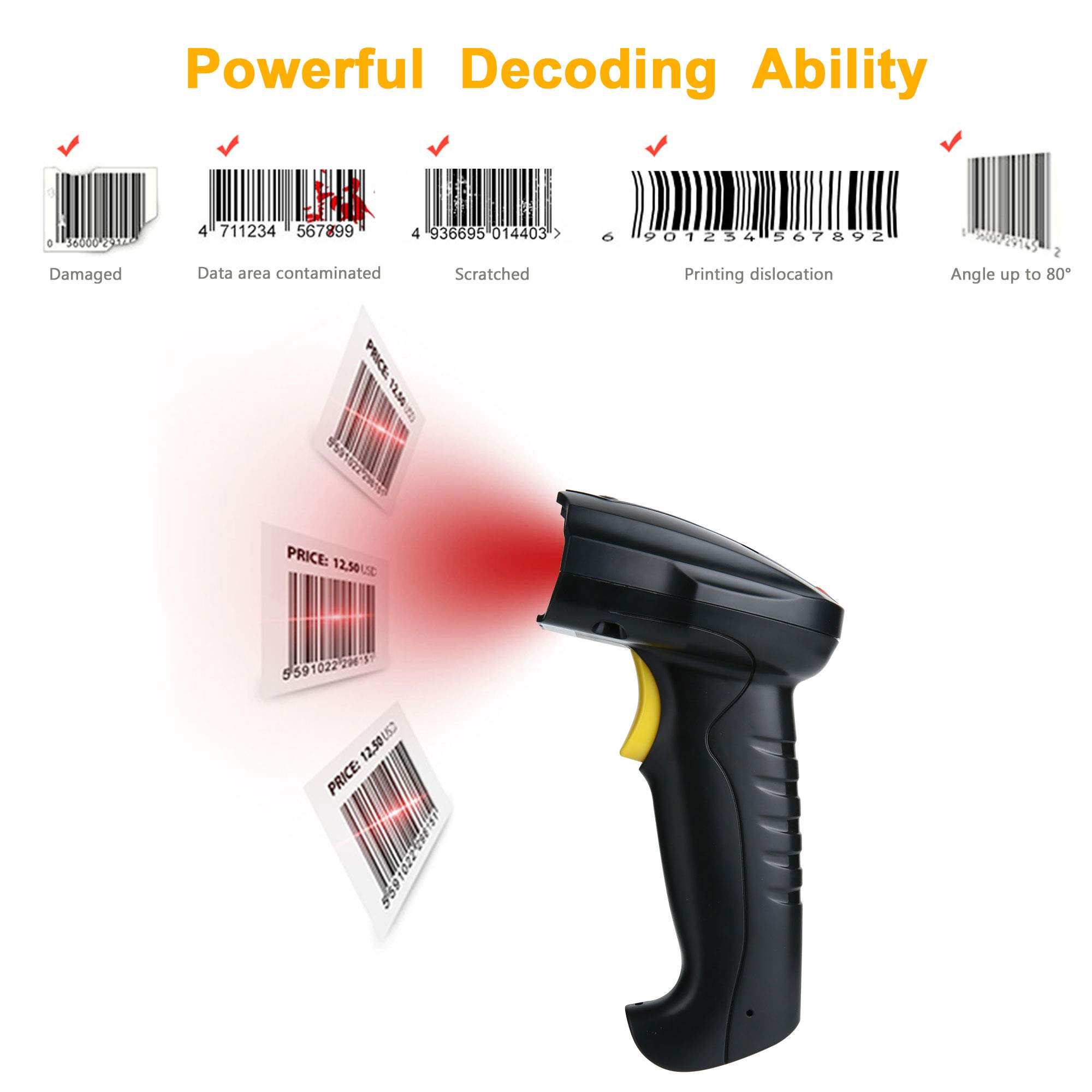 TaoHorse Handheld USB Barcode Scanner Wired Laser 1D Bar Code Reader for POS PC Laptop