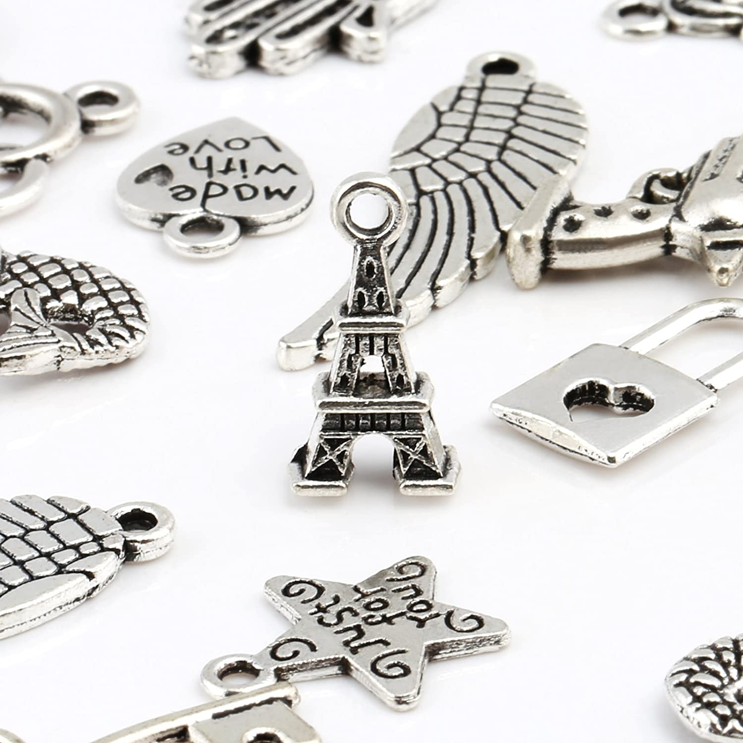 120 pcs Mixed Styles Retro Silver Pendant Charm for DIY Jewellery Making