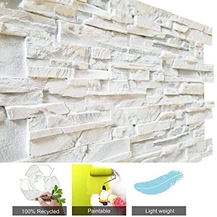 Amazon com: Loryro 3D Wall Art Panels FRP Faux Stone Wallpanel for